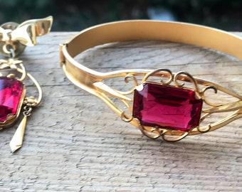 Victorian Jewelry / Victorian Bangle Bracelet / Victorian Brooch / Pin / Emerald Cut Ruby / Antique Bracelet / Victorian Gold Jewellery /