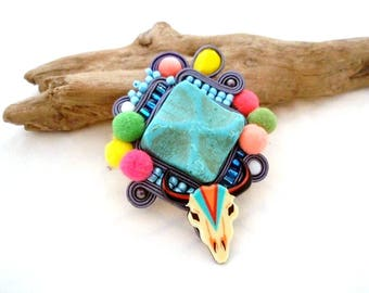 southwestern jewelry - gift women - cow skull extra large turquoise brooch - boho bead embroidered silk thread - western inspired broach