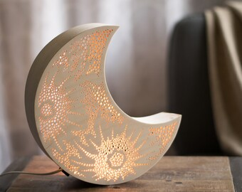 Crescent Moon Night Light   Wooden Accent Lamp   Luna Lantern Wall Hanging
