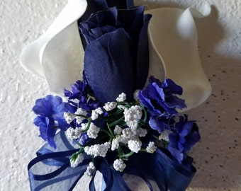 Ivory Calla Lily Navy Blue Rose Corsage or Boutonniere