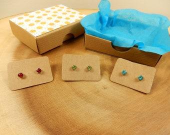 Small Crystal Earrings, Minimalist Earrings, Small Studs, Wine Red, Ocean Blue, Lime Green, Petite Earrings