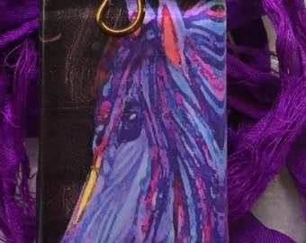 Blue Fantasy Horse Art Pendant on upcycled pansy purple silk sari ribbon   Horse Art   Glass Tile Pendant