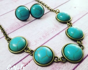 Set necklace and earrings, turquoise cameo, Glass cabochon, Boho, original gift