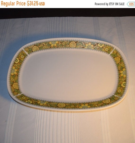 """Delayed Shipping Noritake Progression Festival 13"""" Serving Platter Vintage Oval Serving Tray Hard to Find Rare 1970s Noritake Replacement Di"""