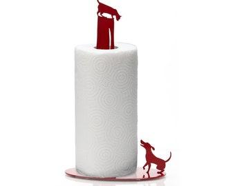 Paper Towel Holder // Dog Vs. Cat // Red // Metal Kitchen