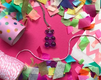 Gummy Bear Pendants with Stainless Steel Chain - Rainbow choice of colours available