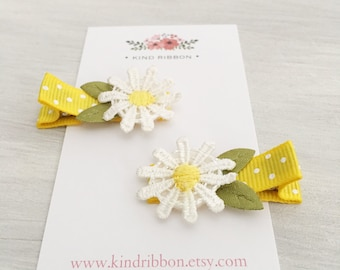 GRAND OPENING! Daisy Floral Baby Hair Clips, Infant Hair Clips, Lined Baby Hair Clips, Small Baby Hair Clips, Baby Shower Gift