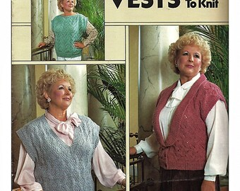 Full figure Vests to Knit Pattern Book Leisure Arts 547