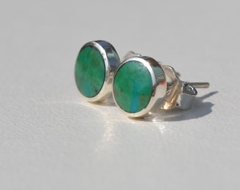 NEW ! *** Green chrysocolla and silver stud earrings