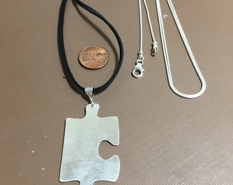 Puzzle necklace silver on snake chain or leather handmade-Autism speaks necklace