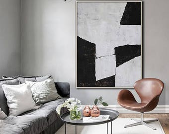 Original Painting Black White Canvas Art, Large Abstract Art, Vertical Wall Art Contemporary Painting - Ethan Hill Art No.H112V
