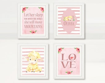 BEAUTIFUL Nursery Baby Lamb Wall Art, Pink Girl Nursery Room, Watercolor Lamb, Let her sleep, Wall Decor, Instant Download