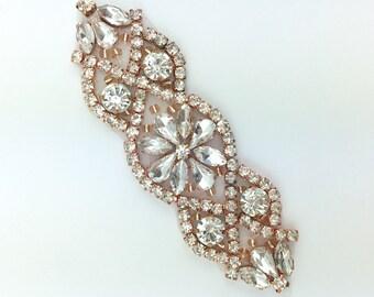 "4"" small Crystal rose gold Rhinestone Applique DIY Baby Headband bridal garter- rose gold bridal Applique hotfix Crystal motif [TR-021]"