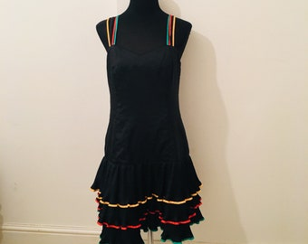 Vintage 70s 80s dress with black bodice and PLEATED RARA skirt