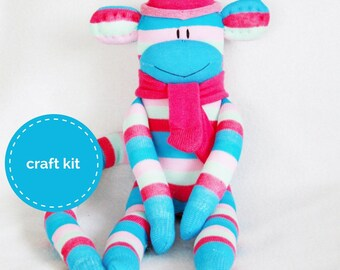Stuffed toys, Sock Monkey Craft  Kit - Pink and Blue Stripes, Toy Pattern