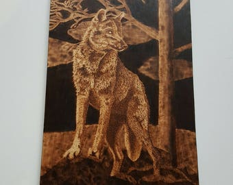 Wolf on Wood Pyrography