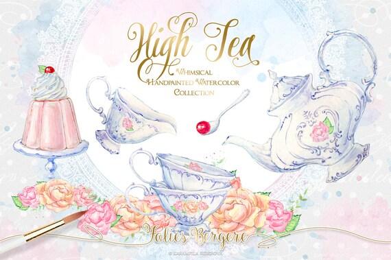 tea clipart watercolor tea party clipart high tea invitation rh etsy com tea party clipart images tea party clipart images
