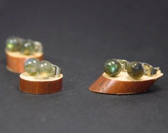 Blue Labradorite Earrings, Tiny Labradorite Studs Earrings, Dainty Earrings 6mm, Hypoallergenic Studs, Gemstone studs, Everyday Earrings