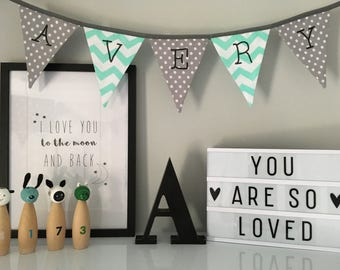 Mint Green and Grey Personalised  Name Bunting