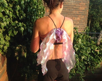 Realistic Foldable Strapless Poseable Fairy Wings, Purple Pearlescent Shimmery Fabric,