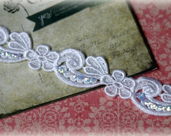 Lace Trim with Multi Colored Glittered Edges for Bridal, Costume Design, Lace Jewelry, Millinery Design, Crafting LA-148