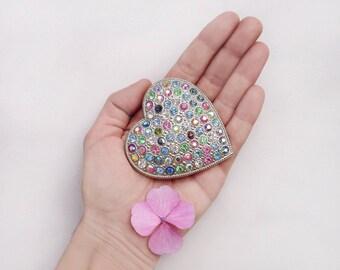 80s heart brooch / oversize statement vintage women fashion jewelry / novelty multicolored crystal glass rhinestones pin