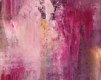 Abstract Pink no. 1, original oil knife painting.