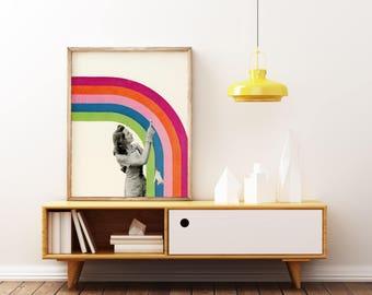 Pop Art Poster, Rainbow Print, Retro Wall Art - Paint a Rainbow