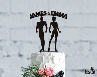 Personalized Cake Topper Fitness, Fitness Wedding Cake Topper, CrossFit Cake Topper, wedding Gift, Bodybuilder Cake Topper