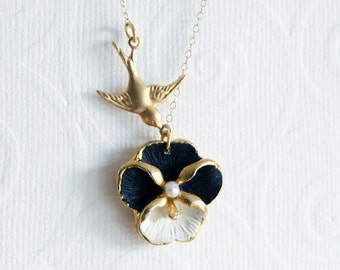 Pansy Necklace, Black Necklace, Flower Necklace, Jewelry For Mom Pansy Jewelry Black and White Jewelry