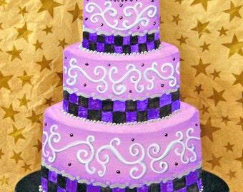 Fantasy Purple Skull Wedding Cake Ornament, Skull Wedding Cake Ornament, Gothic Wedding Ornament, Gothic Skull Cake, 1st Christmas Ornament