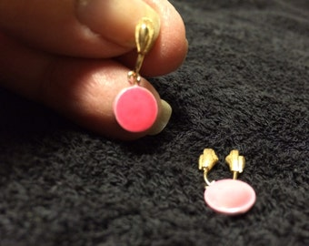 Earrings, Pink, 1970s, slide on earrings,clips, non pierced earrings