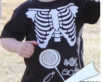 Skeleton Maternity xray kids child halloween DIY Iron On Applique family or couples costume choose what goes in belly cookies, hot dog, milk