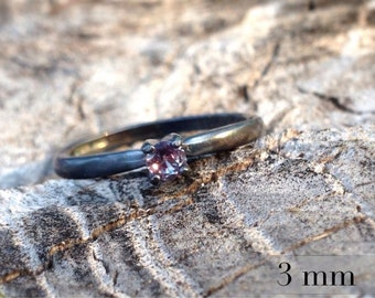 Alexandrite Color-Change Ring, Blackened Silver Ring, Promise Ring, 3mm Gemstone Engagement Ring