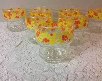 Set of Seven Orange and Yellow Drinking Glasses Bubble Bottom