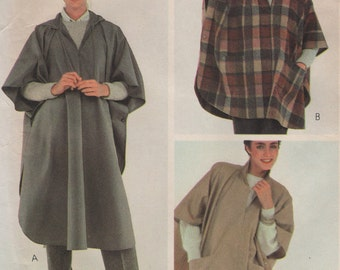 Vintage Zip Front Poncho, 2 Lengths with Hood or Collar, Womens Size 6 - 20 Sewing Pattern, 1980s