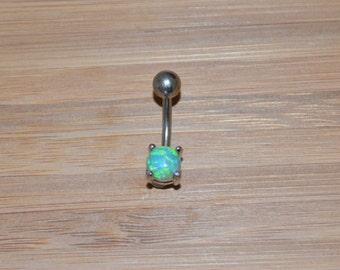 Petite Light Green Simulated Opal Round Shape Prong Belly Button Ring Navel Body Piercing Jewelry