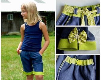 Bermuda Shorts PDF Sewing Pattern - Age 1-2 up to 12-14 / The Maisy , Video instructions,pants,Nautical,Retro, Boho, capri, shorts, cute