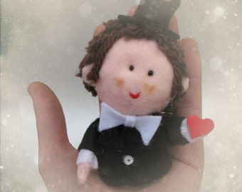 Will you marry me - Made in France OOAK custom love felt doll (groom) made to order for engagement, wedding, valentine, anniversary