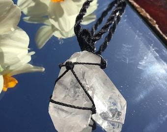 Large clear quartz double wand semi precious healing hand made macrame necklace pendant