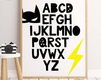 Superhero Alphabet, 50%  OFF Alphabet Print, Superhero Nursery, Boys Wall Art, Alphabet Nursery, Playroom, Alphabet Wall Art, Marvel PRINTS