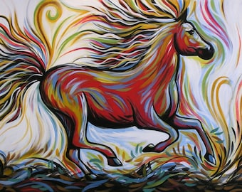 "Horse art Print ... Abstract horse Art ... Crimson Lightning, 8 1/2"" x 11"" Print of horse painting"