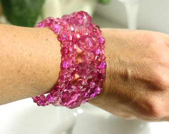 Pretty in Pink Bracelets - Mix and Match Beaded Bracelets - Set of 6 unique Handmade Bracelets - Mixed Media Jewelry - Accent Accessories