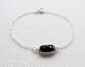 Black Bar Bracelet Dainty Sterling Silver Chain Bracelet Simple Dainty Bracelet Minimal Bracelet