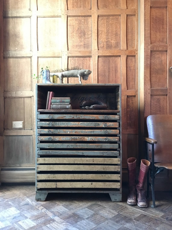 Vintage Drawer Unit, Reclaimed Wood Flat File Dresser, Rustic Repurposed Bar Cabinet
