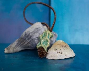 Green Coral like ceramic pendant