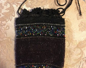 Antique German beaded drawstring pouch