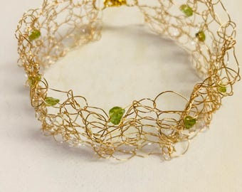 August Birthstone Peridot And Crystals Gold Wire Crochet Bracelet