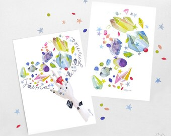 Stone watercolor postcard, Gems watercolor, I love gems, Mineral card, Gems art, Abstract, Watercolor art, Gems greetings, Cute stationery