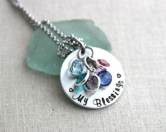 My Blessings necklace, silver tone aluminum and stainless steel Personalized necklace with Swarovski crystal birthstones hand stamped